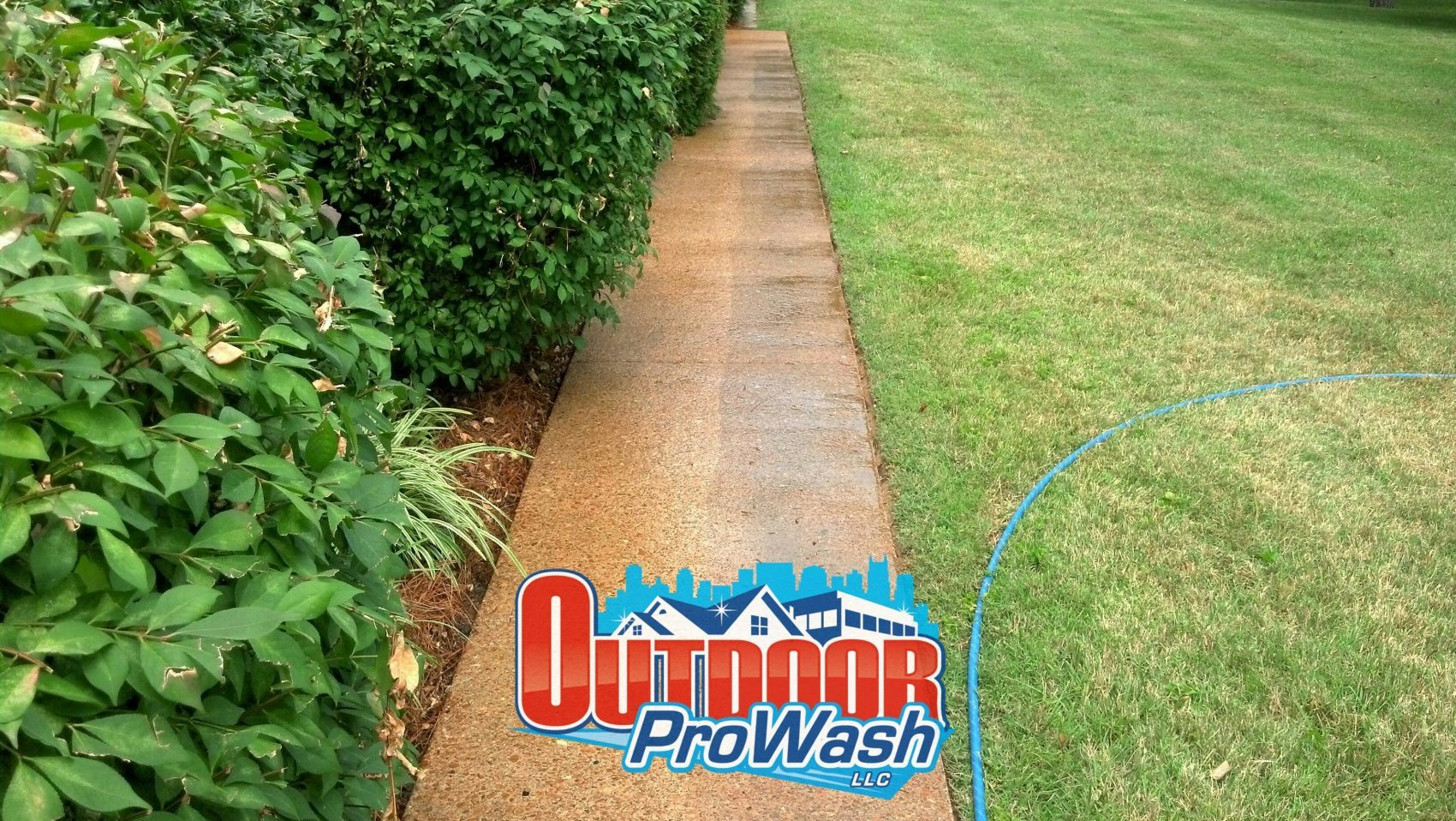 Home sidewalk power wash cleaning