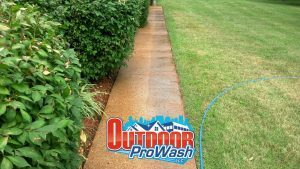 Sidewalk pressure washing and sealing