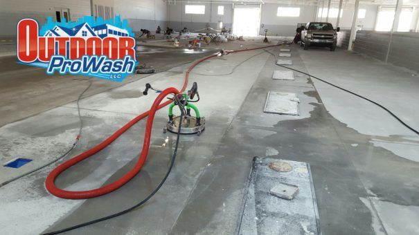 Interior concrete pressure washing contruction clean up for Indoor concrete cleaner