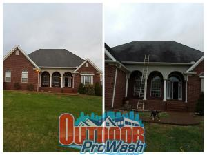 Side by side roof cleaning comparision
